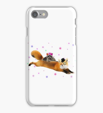 Top fox and Lady raccoon flying. iPhone Case/Skin
