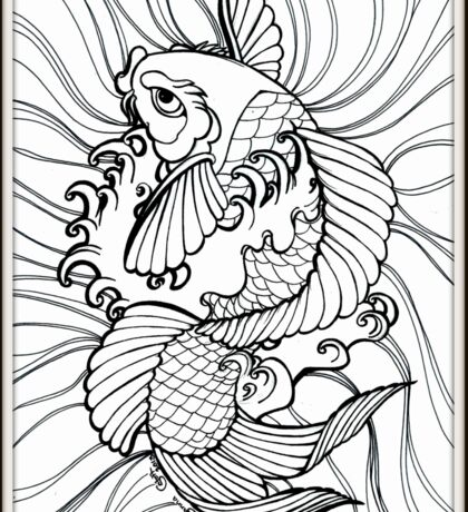 Fantasy Koi Ink Color Page Splashy Tattoo Flash Art Sticker