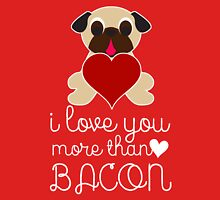 I Love You More Than Bacon Pug With Heart Women's Fitted Scoop T-Shirt