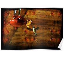 Hovering Hummingbird Cottage Scene Poster