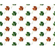 Green And Orange Shamrocks Pattern Photographic Print