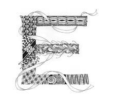 Zentangle®-Inspired Art - Tangled Alphabet - E Photographic Print