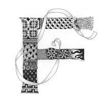 Zentangle®-Inspired Art - Tangled Alphabet - F by Laurel Regan
