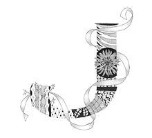 Zentangle®-Inspired Art - Tangled Alphabet - J Photographic Print