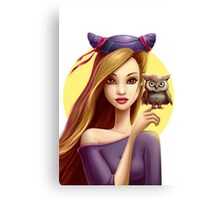 Girl with little cute owl Canvas Print