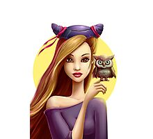 Girl with little cute owl Photographic Print