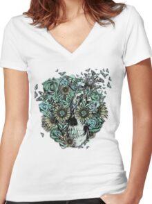 Constant, sunflower skull Women's Fitted V-Neck T-Shirt
