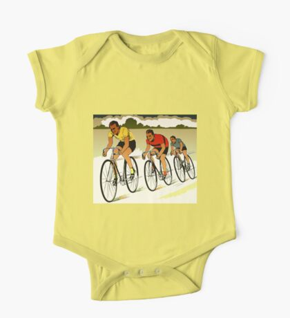 The race (cycling) retro vector art One Piece - Short Sleeve