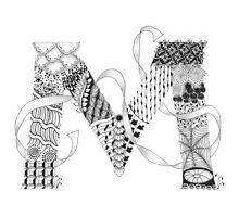 Zentangle®-Inspired Art - Tangled Alphabet - M Photographic Print