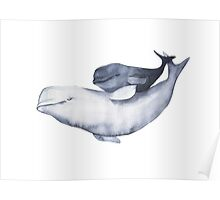 Mother and baby. Watercolor illustration. Beluga Poster