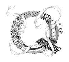 Zentangle®-Inspired Art - Tangled Alphabet - Q Photographic Print