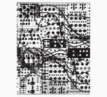 analog synthesizer modular system - black and white illustration Kids Tee