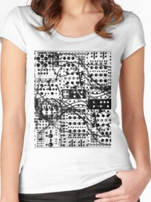 analog synthesizer modular system - black and white illustration Women's Fitted Scoop T-Shirt