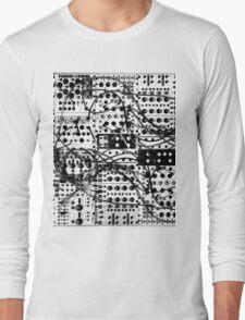 analog synthesizer modular system - black and white illustration Long Sleeve T-Shirt