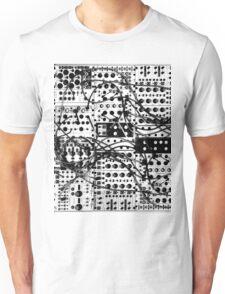 analog synthesizer modular system - black and white illustration Unisex T-Shirt