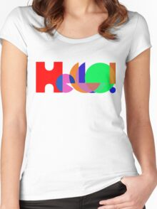 Hello ! Colorful Abstract typography Women's Fitted Scoop T-Shirt