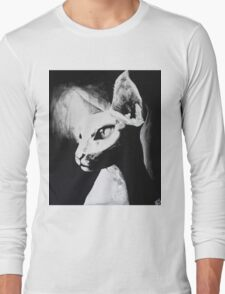 Sphynx Cat Feline Black & White Painting Art Long Sleeve T-Shirt