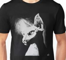 Sphynx Cat Feline Black & White Painting Art Unisex T-Shirt