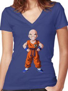 Dragon Ball Z Krilin ART Women's Fitted V-Neck T-Shirt
