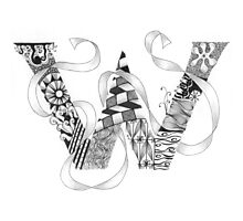 Zentangle®-Inspired Art - Tangled Alphabet - W Photographic Print