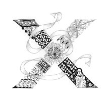 Zentangle®-Inspired Art - Tangled Alphabet - X Photographic Print
