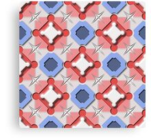 Blue and Red 3D Geometric Pieces Checkerboard Canvas Print