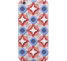 Blue and Red 3D Geometric Pieces Checkerboard iPhone Case/Skin