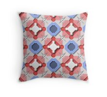 Blue and Red 3D Geometric Pieces Checkerboard Throw Pillow