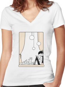 Between The Lines Women's Fitted V-Neck T-Shirt