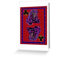 Neon Queen of Clubs Greeting Card