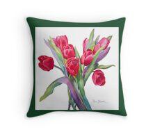 Springtime Tulips Throw Pillow!  (Green Border) Throw Pillow