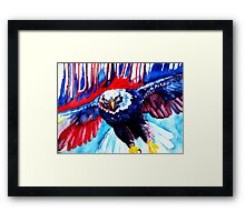 Red White and Blue Bald Eagle Art ... Framed Print