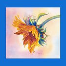 Golden Sunflower Throw Pillow! (Blue Border) by Pat Yager
