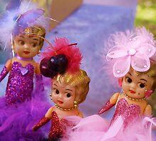 Carnival Dolls, throw cushion.  by Virginia McGowan