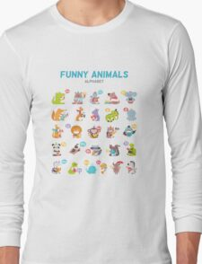 "Alphabet ""Funny animals"" for children's Long Sleeve T-Shirt"
