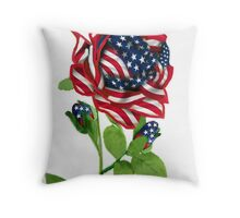 .♥➷♥•* Stars & Stripes Rose For 9-11 In Rememberance Throw Pillow.♥➷♥•*¨ Throw Pillow