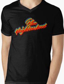 Rainbow Blue Neighbourhood Logo Mens V-Neck T-Shirt