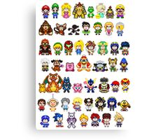 Super Smash Bros Wii U - Pixel Art Characters Canvas Print