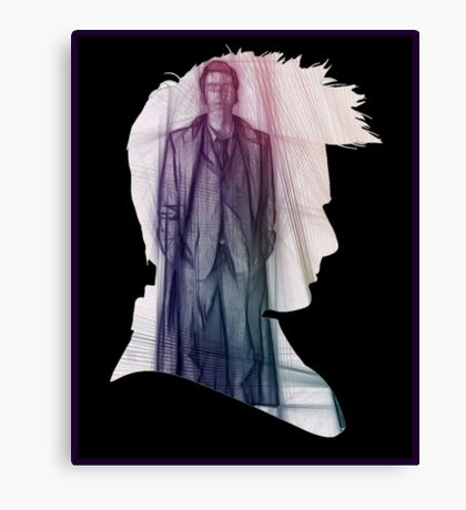 The Tenth Doctor Silhouette with Colorful Sketch Canvas Print