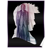 The Tenth Doctor Silhouette with Colorful Sketch Poster