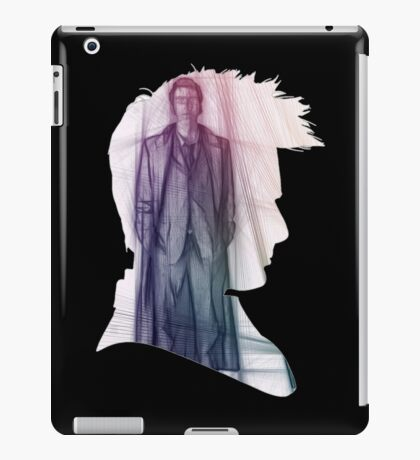 The Tenth Doctor Silhouette with Colorful Sketch iPad Case/Skin