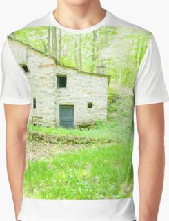 Old stone cottage in forest. Graphic T-Shirt
