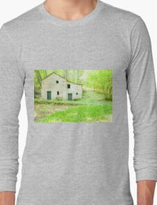 Old stone cottage in forest. Long Sleeve T-Shirt