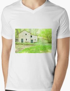 Old stone cottage in forest. Mens V-Neck T-Shirt