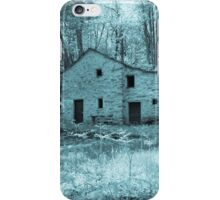 Old stone cottage in forest, blue filter iPhone Case/Skin