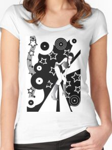 Retro Glam Discotheque Women's Fitted Scoop T-Shirt