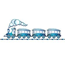 Little Blue Toy Train Photographic Print