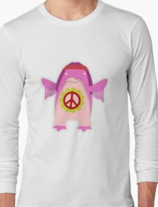Pink Psychedelic Hippie Penguin Long Sleeve T-Shirt