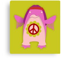 Pink Psychedelic Hippie Penguin Canvas Print