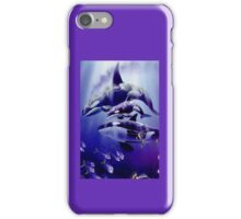 Dolphins toying in water iPhone Case/Skin